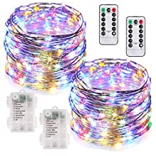 MUMUXI 2 Pack 33Ft 100 LED Fairy Lights Battery Operated String Lights with 8 Modes Remote Control Timer Waterproof Copper Wire Twinkle Lights for Bedroom Wedding Party Chirstmas Decor, Multicolor