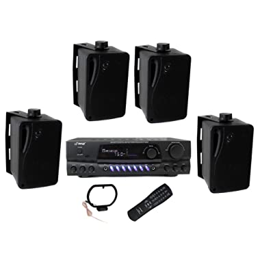 4) Pyle PLMR24B 3.5  200W Box Speakers + PT260A Home Digital Stereo Receiver