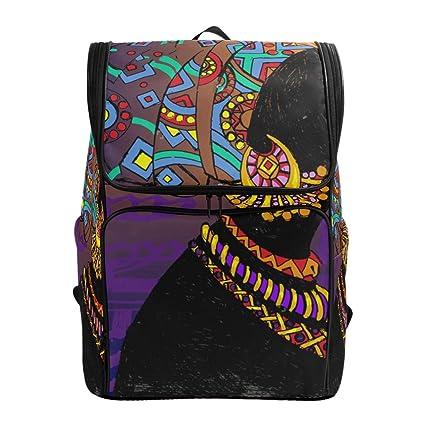 7b6db8b224bf Amazon.com: SLHFPX Travel Backpack Silhouette of Black Woman Ethnic ...