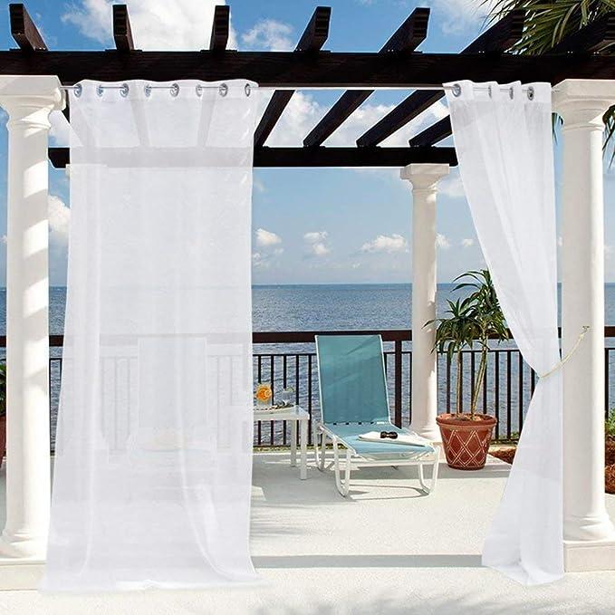 Clothink - Cortinas para Exteriores con Ojales, Color Blanco ...