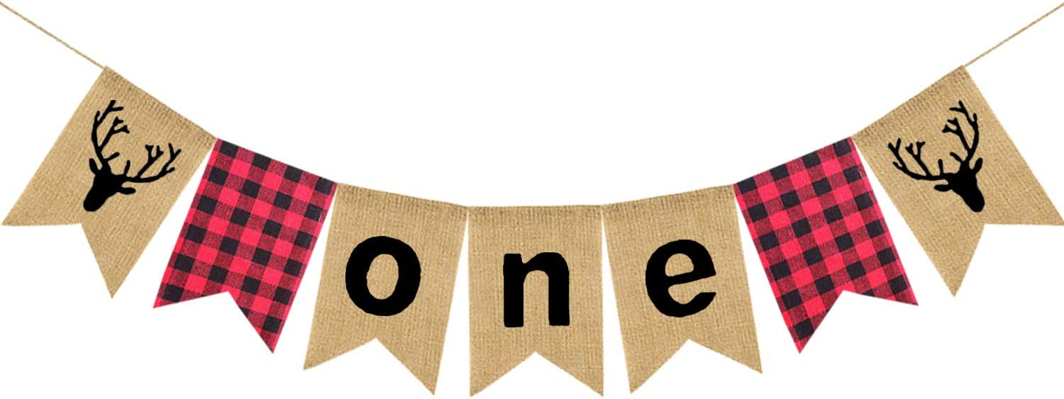 Lumberjack Theme First ONE Birthday Party Burlap Bunting Banner, Buffalo Plaid Camping Wild Bear 1st Birthday Party High Chair Banner, Baby Boy Photo Photo Booth Props