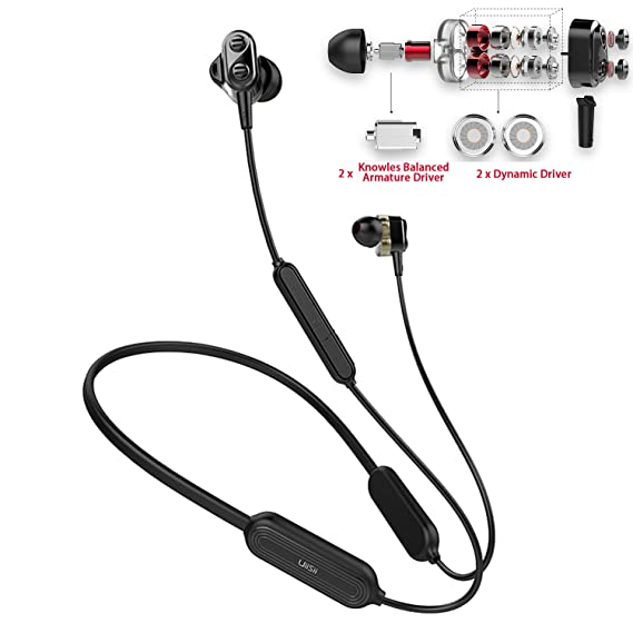 5ae1dbf282e Wireless Earbuds Sweatproof,TOP Quad Driver Bluetooth Earbuds Noise  Cancelling Headphones 15H Battery Impressive Bass