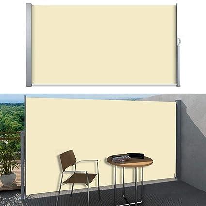 Doppelte Seitenmarkise 180x600cm beige Sichtschutz Sonnenschutz