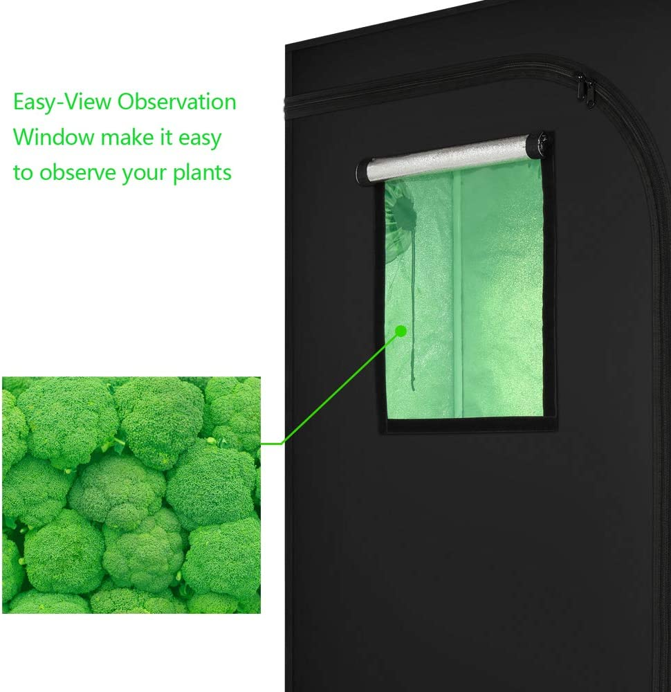 Grow Tent with Window 160x90x50cm Hydroponics Growing Kits Complete Small greenhouse Tents Kits Garden Indoor Grow Box Farmer Air Quality Monitor Grow Tent Tool Box Growing Kit Full Growing Tent Kit