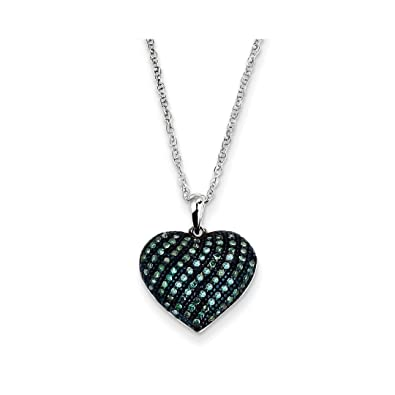 Amazon ice carats 14kt white gold blue diamond heart pendant ice carats 14kt white gold blue diamond heart pendant charm necklace slove fine jewelry mozeypictures Image collections