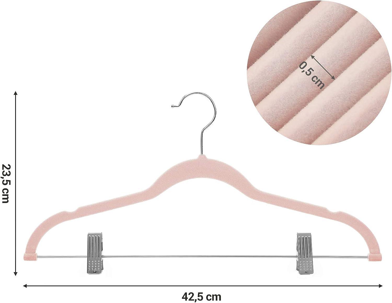 Giacche in Velluto per Abiti Girevole a 360/° con Clip Colore: Grigio Chiaro salvaspazio Antiscivolo SONGMICS CRF12VX Cappotti 42,5 cm Sottile Camicie Gruccia per Pantaloni