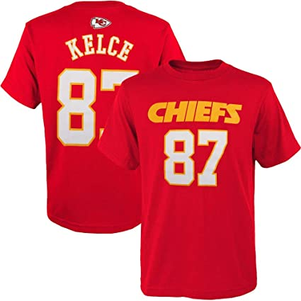 f7a992ad Outerstuff Travis Kelce Kansas City Chiefs NFL Youth 8-20 Red Mainliner  Player Name & Number T-Shirt