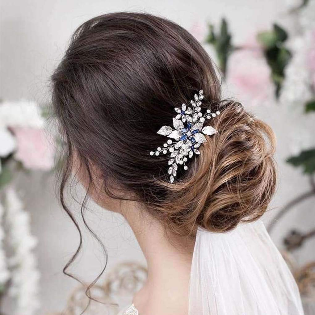 Olbye Wedding Hair Comb Blue Rhinestone Bridal Hair Accessories for Bride and Bridesmaids Wedding Hair Piece Silver by Olbye (Image #4)
