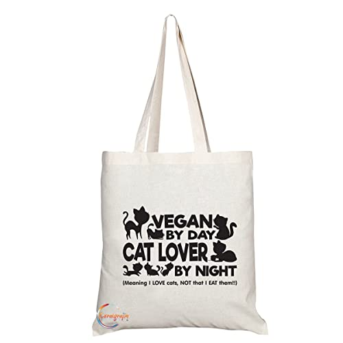 TB072 VEGAN BY DAY CAT LOVER BY NIGHT Novelty Present Gift Printed Eco-Friendly Stylish Long Handled Tote Shoulder Bag