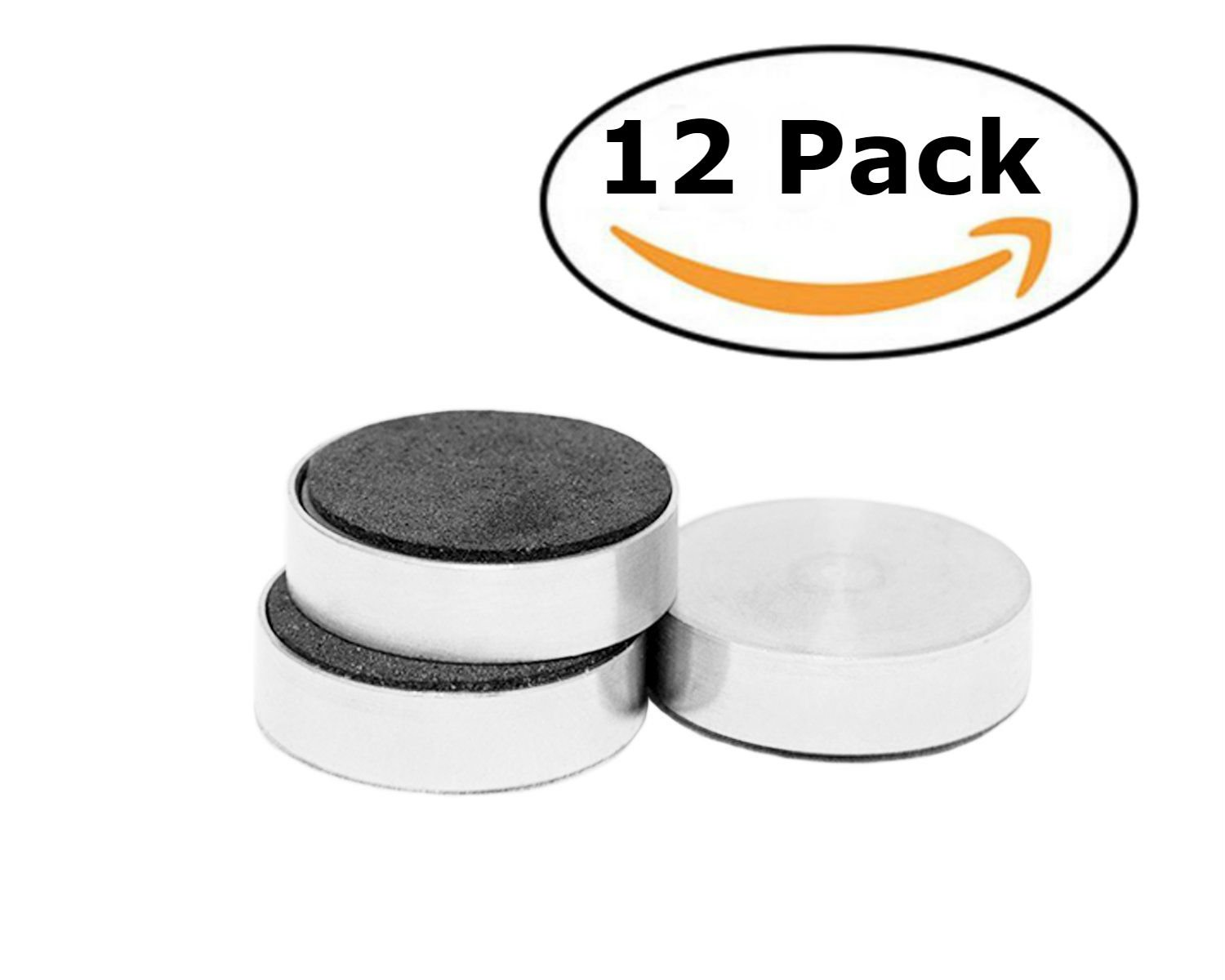 Bullseye Office - Set of 12 Modern Stainless Steel Cased Round Refrigerator Magnets - Perfect Stainless Steel Magnets for Home, Office, Whiteboard Magnets