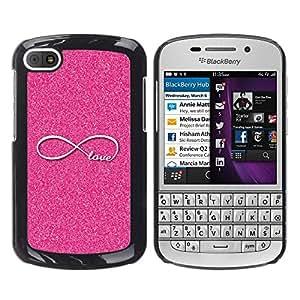 Caucho caso de Shell duro de la cubierta de accesorios de protección BY RAYDREAMMM - BlackBerry Q10 - Infinite Pink Glitter Infinity Loop