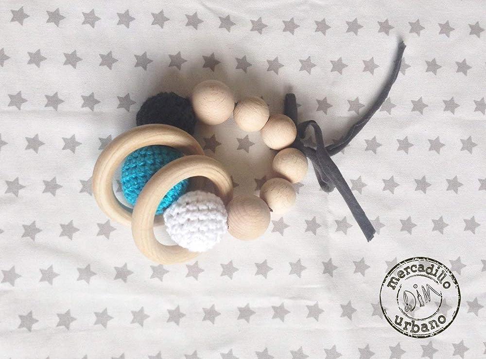 Sonajero estilo Montessori de madera y ganchillo para bebes ...