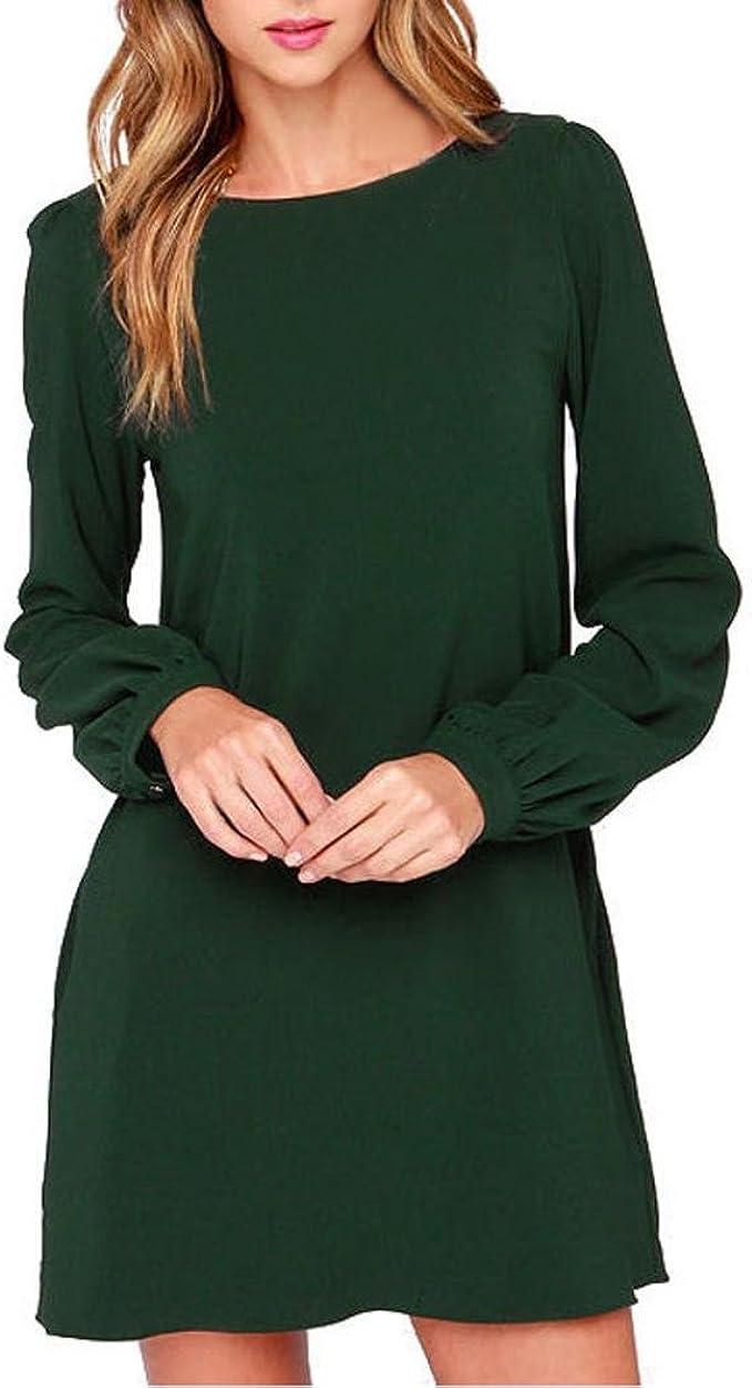 Damen Kleider Schwarz/Rot Frauen Tunika Kleid Langarm Minikleid A Line  Swing Kleider Casual T-Shirt Kleid Stretch Basic Kleid Lose Frühling Herbst
