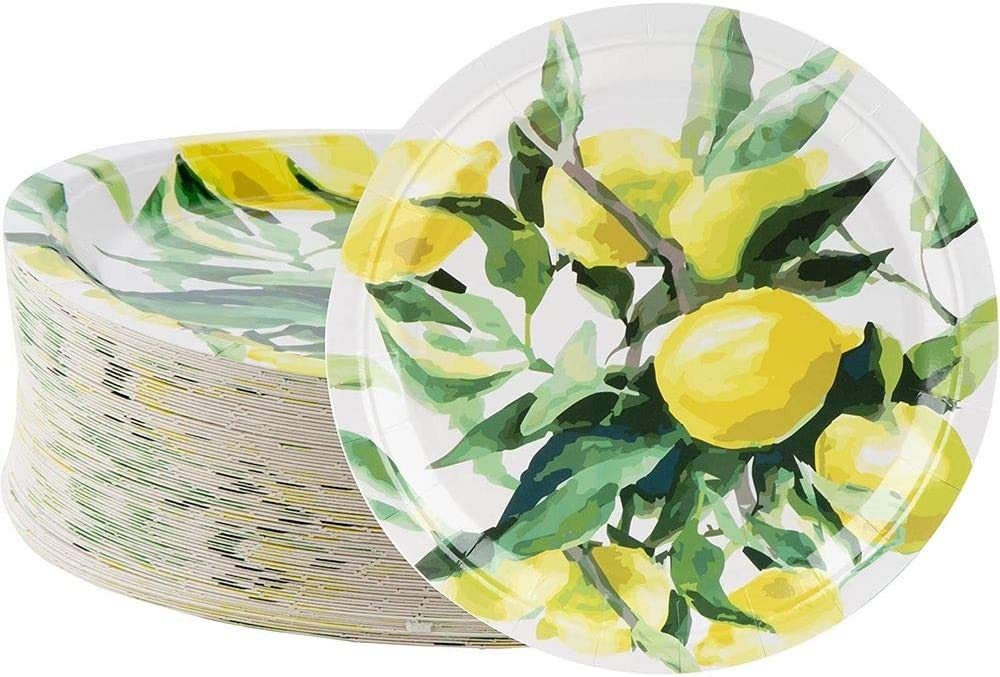 Disposable Plates - 80-Count Paper Plates, Lemon Party Supplies for Appetizer, Lunch, Dinner, and Dessert, Brunch and Garden Party, 9 x 9 Inches