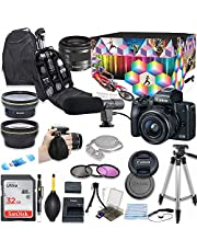Canon EOS M50 Mirrorless Digital Camera with 15-45mm Lens Video Kit (Black) + Wide Angle Lens + 2X Telephoto Lens + SanDisk 32GB SD Memory Card + Commander Optics Accessory Bundle