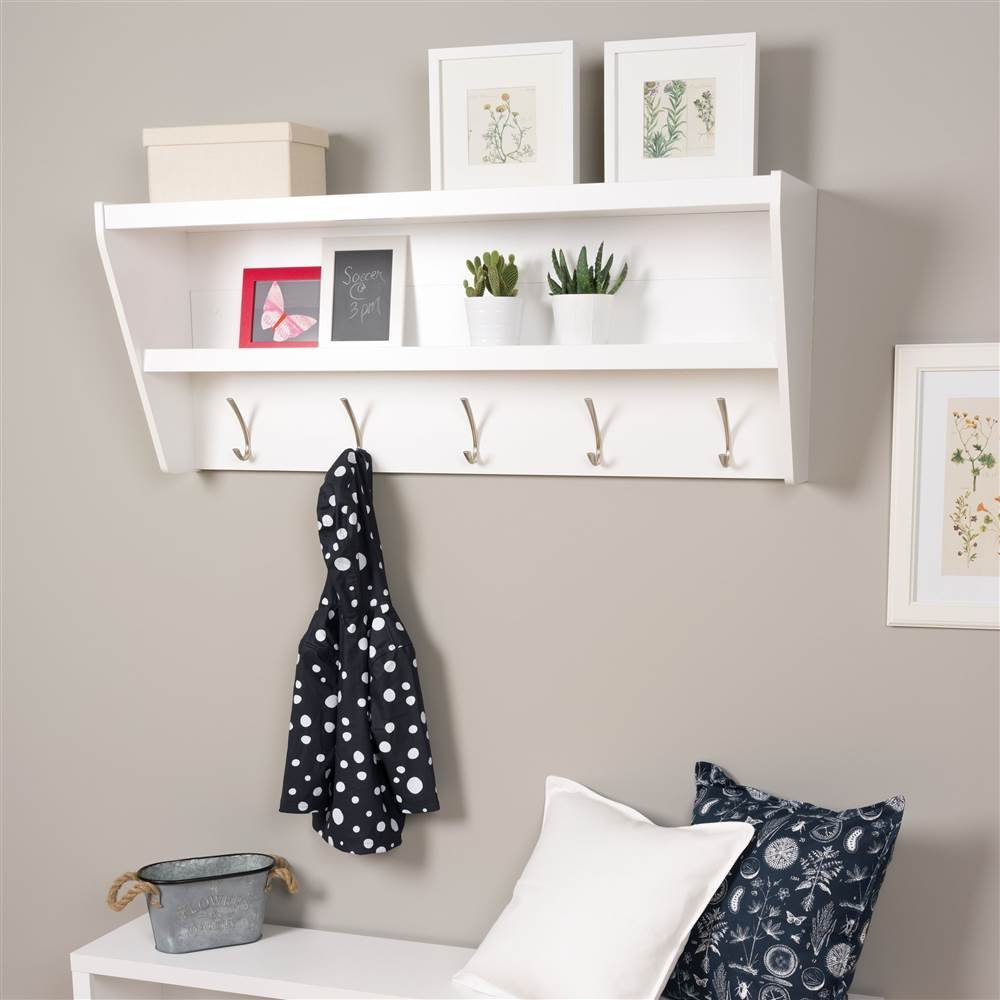Prepac Floating Entryway Shelf and Coat Rack in White Laminate
