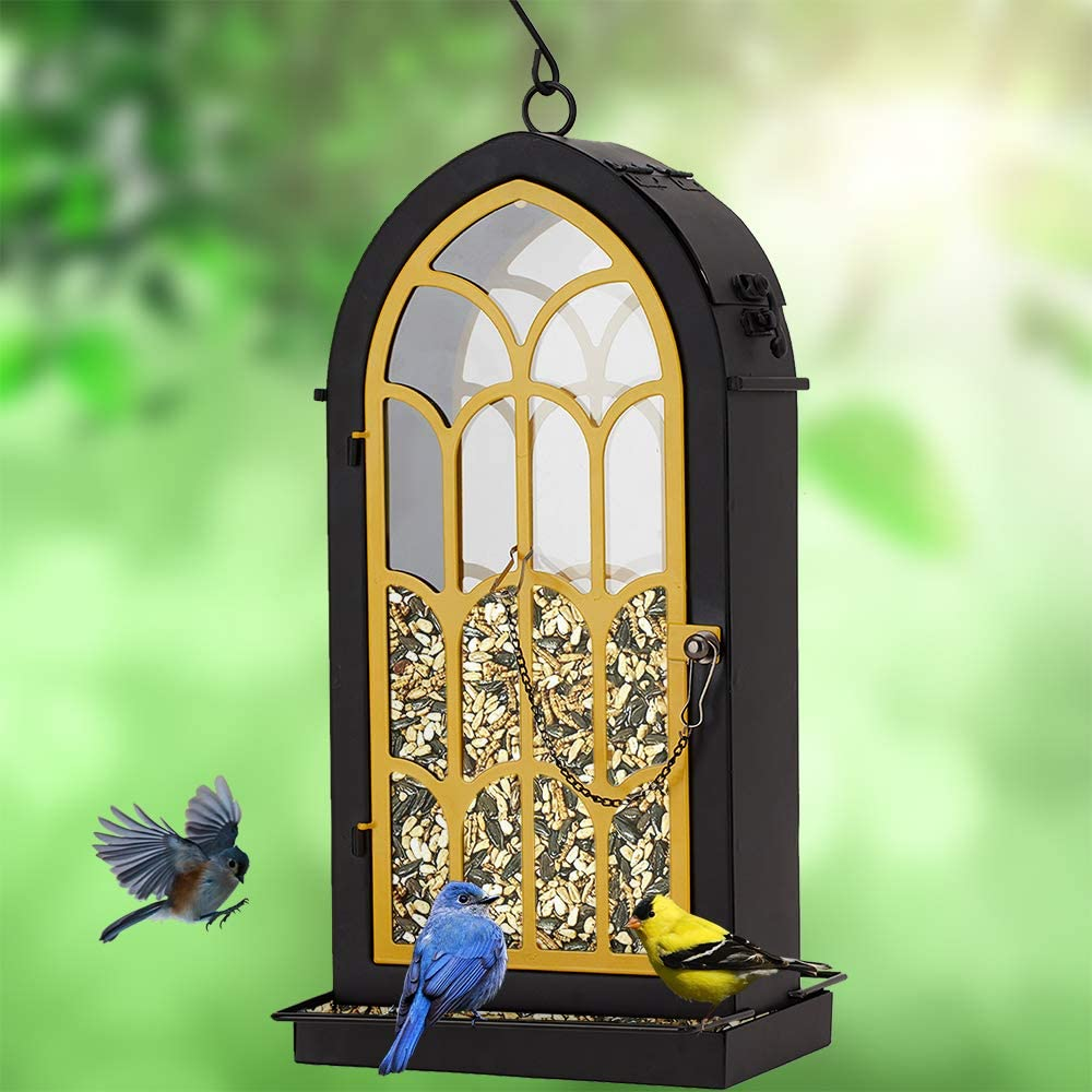 Archway Bird Feeder, Yellow Metal Perches with 2.75 Pounds Seed Capacity