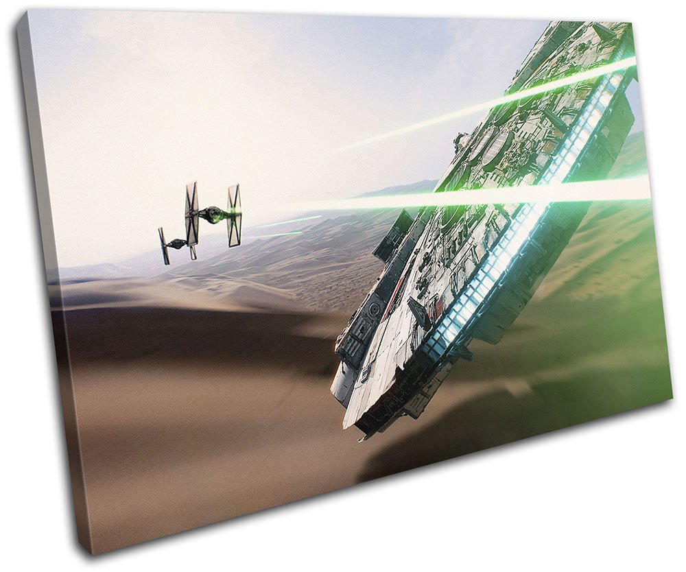 Bold Bloc Design - Star Wars Millenium Falcon Movie Greats 120x80cm SINGLE Canvas Art Print Box Framed Picture Wall Hanging - Hand Made In The UK - Framed And Ready To Hang