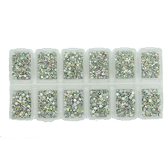 Deal 8640pcs Nail Rhinestones Flatback Crystals Nail Art Rhinestones 1.3mm 2.8mm Ab Round Glass Gems Stones Beads For Nails Decoration Crafts Eye Makeup Clothes Shoes Mix 6 Size Ss3 Ss10 by Divalove Beauty