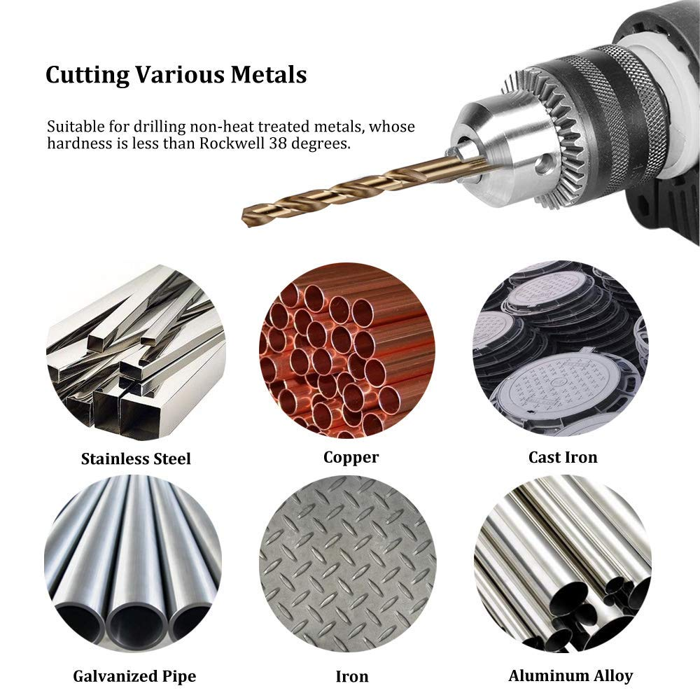 Migiwata 1//4 Inch Fractional Size M35 Cobalt Steel Twist Drill Bit Set of 10pcs Extremely Heat Resistant Suitable for Drilling in Stainless Steel and Iron Jobber Length and Straight Shank