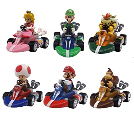 6pcs//set Super Mario Mini Kart Pull Back Cars Figure Toys for Kids