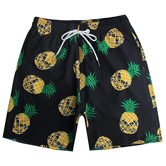 38ee5e9a23 QRANSS Men's Quickly Drying Board Shorts Flamingo Printed Swim Trunk (Black  Pineapple, Small/