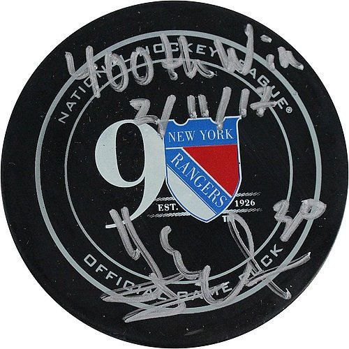 Henrik-Lundqvist-Signed-New-York-Rangers-90th-Anniversary-Puck-w-400th-Win-Insc