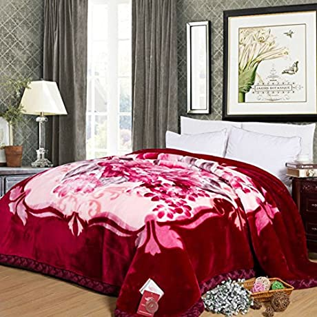 Pastoral Style Flowers Floral Polyester Thickened Double Layer Blankets H 220240cm 87x94inch