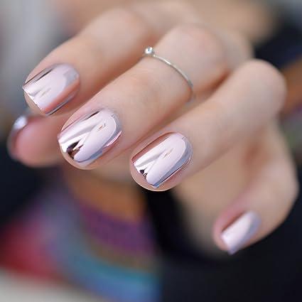 EchiQ - Espejo reflectante para uñas de acrílico francés, chapado en metal rosa suave,