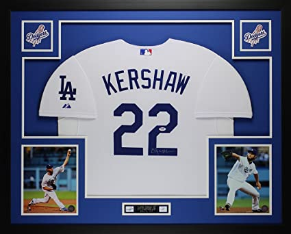 Clayton Kershaw Autographed White Dodgers Jersey - Beautifully Matted and  Framed - Hand Signed By Clayton 4423cf5c82e