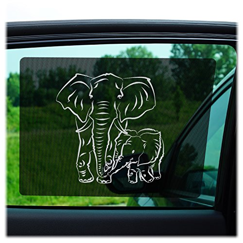 Just-f-Care Car Sun Shades by 2 Pack - Friendly ZOO Animals, Protects Kids from Harmful UV Rays, Self Adhesive, Easy to Install, Doesn´t Block the View - Able to Scroll the Window, 100% Guarantee