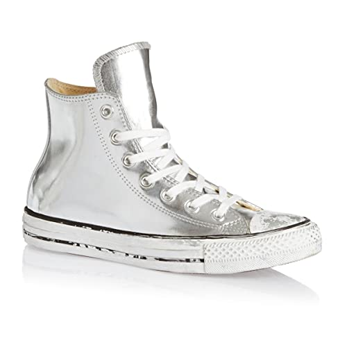 b4dfd7401825 Converse Women s Chuck Taylor All Star Chrome Leather Silver White Black  (549628C)