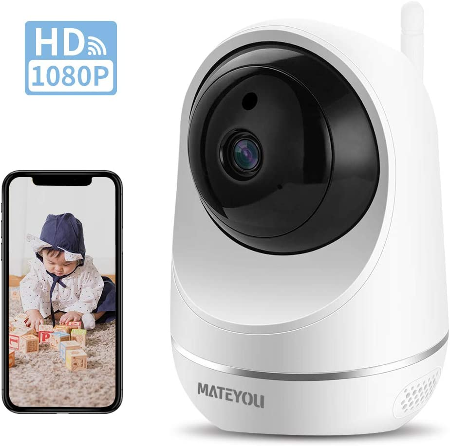 Mateyou 1080P WiFi IP Security Camera with Alexa Cloud Service//Microsd Support Baby Monitor 2-Way Audio Wireless Indoor Camera Compatible for Baby//Elder//Pet