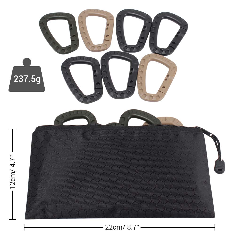 DONGKER 12/21 Pieces Tactical Gear Clip Molle Attachments for D-Ring Carabiner Clip Grimlock Molle Webbing Key Ring Strap Web Dominator Buckle Elastic Strings (13 PCS)
