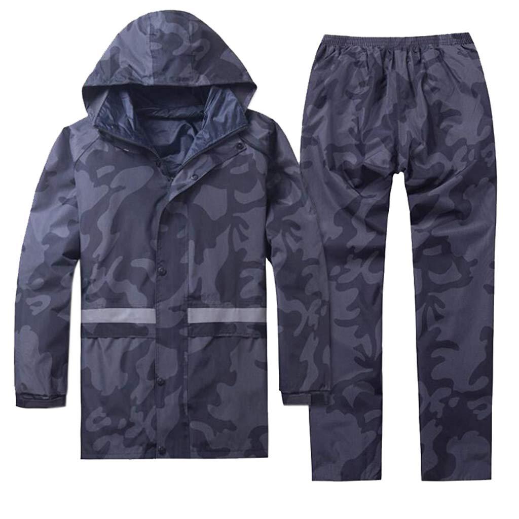 grand QAWSE Manteau De Pluie Adulte Camouflage Double éPaisseur ImperméAble ImperméAble Hommes Et Femmes Pantalon De Pluie ImperméAble en Plein Air Costume