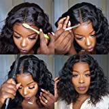 LUMIERE Hair Short Body Wave Bob Wig Human Hair Lace Front Wigs for Black Women 8 inch 150% Density Natural Black 13X4…
