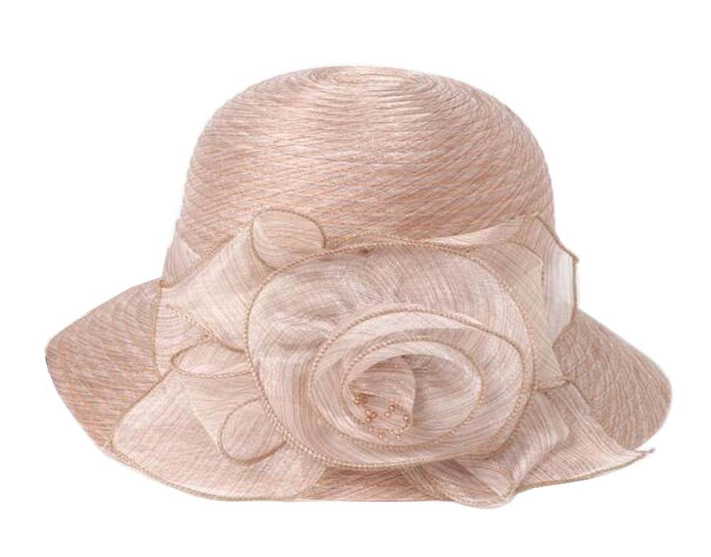 [Beige] Lady Foldable Sun Hat Elegant Organza Top Hat Dress Hat Beach Hat