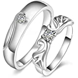 Peora Love Gifts Silver Plated Metal Alloy Size Adjustable Solitaire Couple Ring for Men and Women