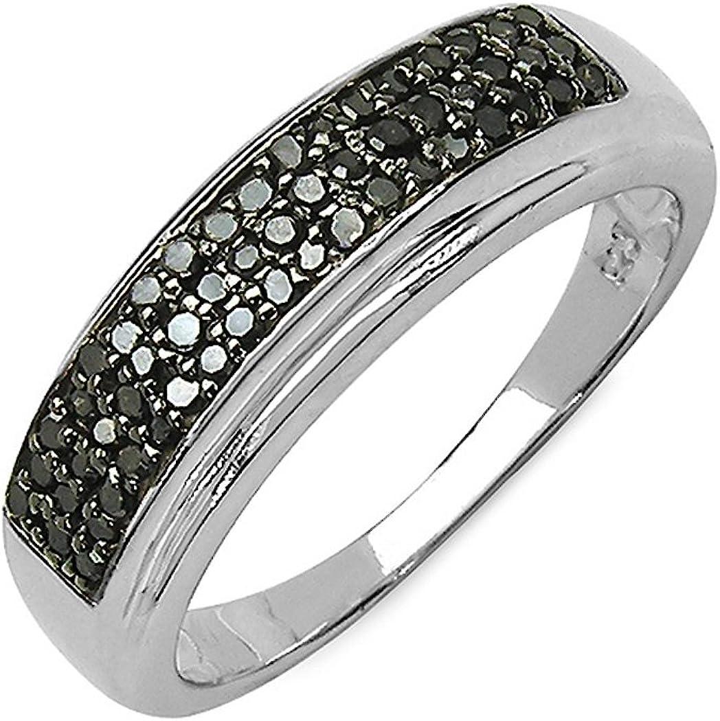Silvancé - Anillo de mujer - plata esterlina 925 bañada en rodio - auténtico piedras preciosas: Black Diamond ca. 0.29ct. - R4876BD