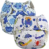 Blueberry One Size Simplex Organic All in One Cloth Diapers, Bundle of 2, Made in USA (Bugs + Blue Elephants)