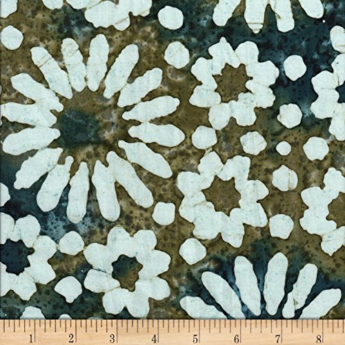 Textile Creations Sarasota Batik Daisy Fabric, White/Brown/Teal, Fabric By The Yard