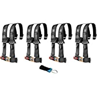 """Pro Armor A114220 P151100 Black 4-Point Harness 2"""" Straps, 4 Pack w/Seat Belt Bypass Clip"""