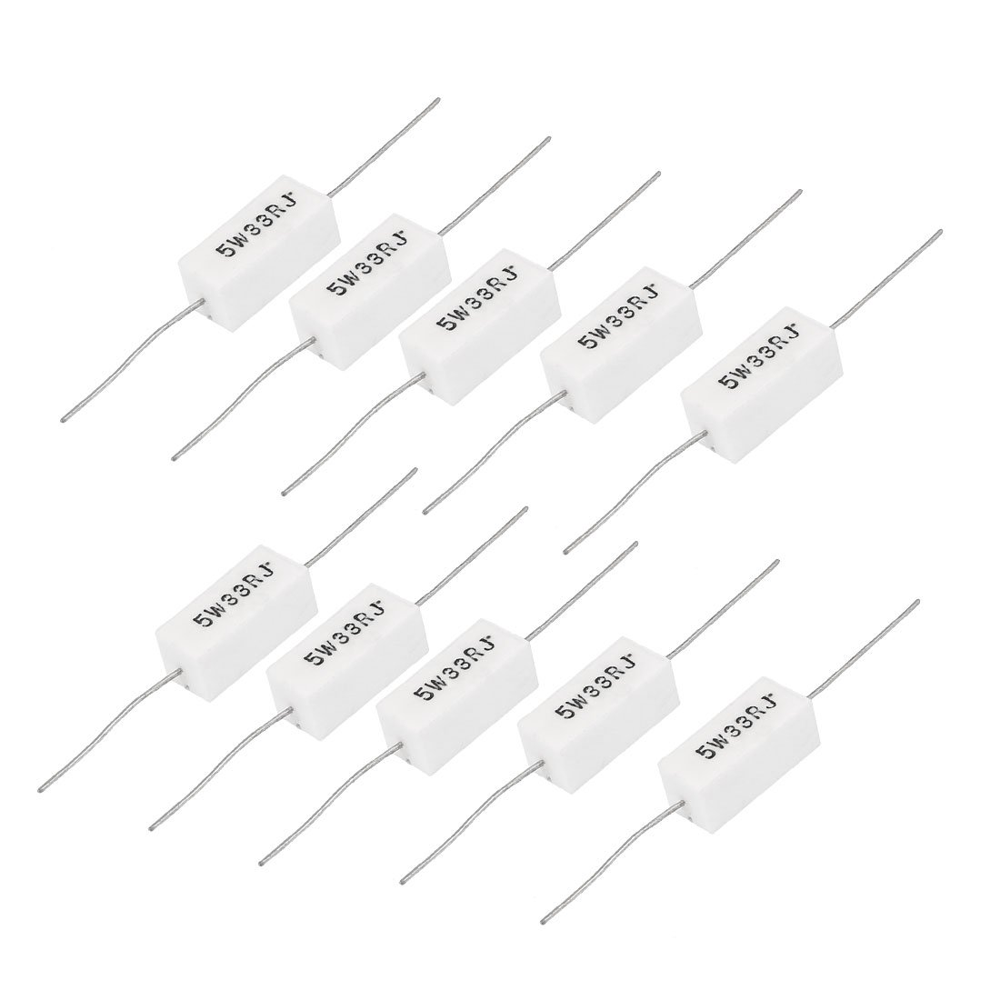 sourcing map 5W 0.25 Ohm Power Resistor Ceramic Cement Resistor Axial Lead 10 Pcs White