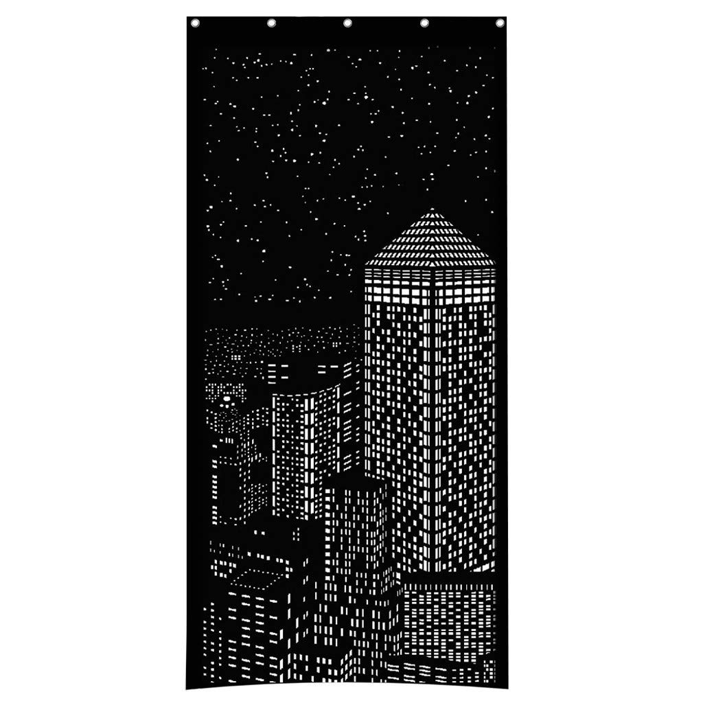 Euone Blackout HoleRoll Curtains with Holes Incredible City Designs Curtain Bedroom
