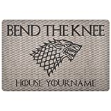"Game of Thrones Door Mat Rug Customizable Personalized 36""x18"" Bend The Knee Doormat Game of Thrones"
