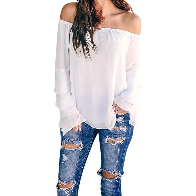PAOLIAN Blusa Gasa de Mujer Manga Largas Otoño 2018 Camisetas Palabra de Honor Moda Hombro Descubierto Señora Ropa para Mujer Basicas Camisa Volantes Negras Talla Grandes