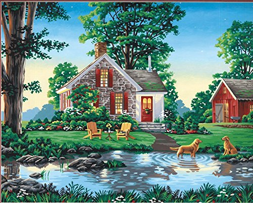(Dimensions Dogs and Summer Cottage Paint by Numbers for Adults, 20'' W x 16'' L )