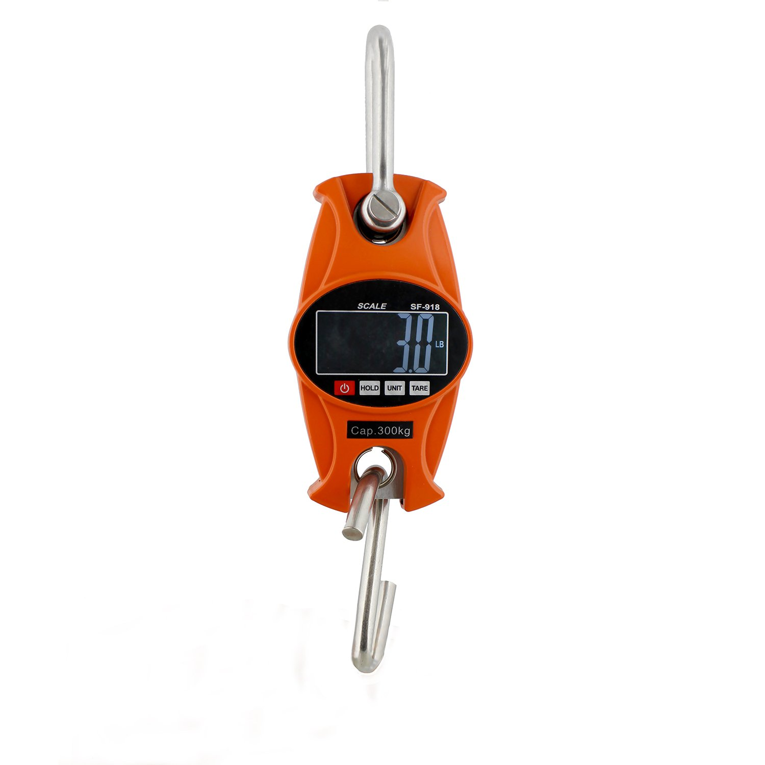 Rural365 Digital Hanging Scale 660 lb Hook Mini Crane Scale in Orange - for Lamb, Calf, Fishing, Hunting Weight by Rural365
