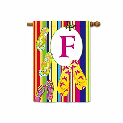 Hamory Flipflop With Colorful Stripes Summer House Flags With Initials  Monogram Banner For Outside 28x40 Inch