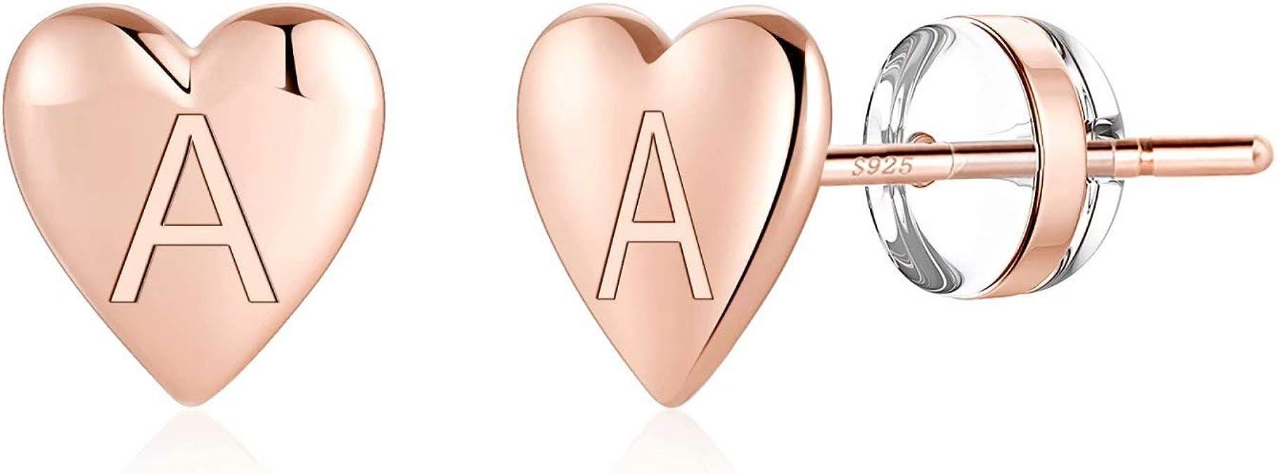 Women Silver Post Earrings Designer Earrings Gold Sterling Silver Heart in a Frame Stud Earrings Silver Jewelry Gold Plated